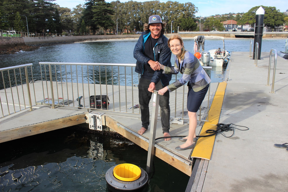 Pete Ceglinski and Gabrielle Upton MP with Seabin's innovative technology